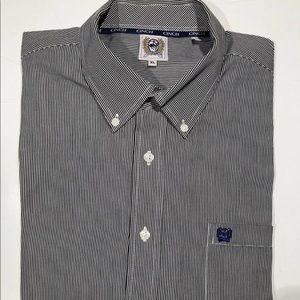 Cinch long sleeve shirt XL black striped cotton
